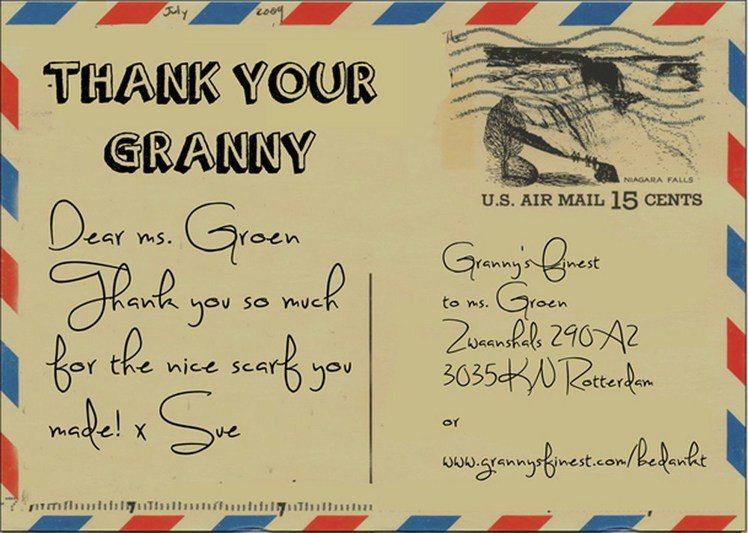 一張來自美國的謝卡:「親愛的Groen太太,真謝謝你織出這麼好的一條圍巾!」圖/...