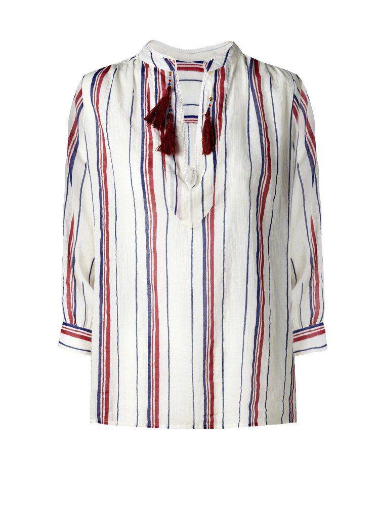 條紋搭流蘇裝飾上衣,1,490元。圖/MANGO提供