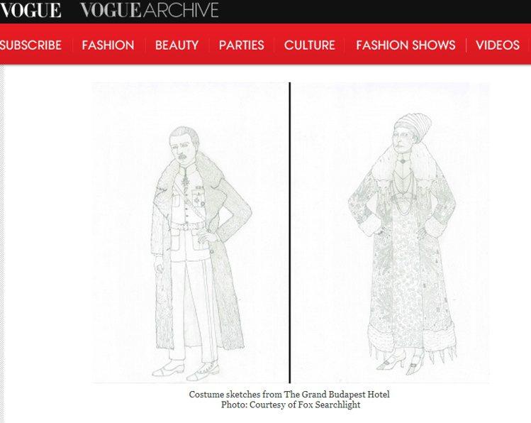 《歡迎來到布達佩斯大飯店》的服裝素描草稿。圖/擷取自vogue.com