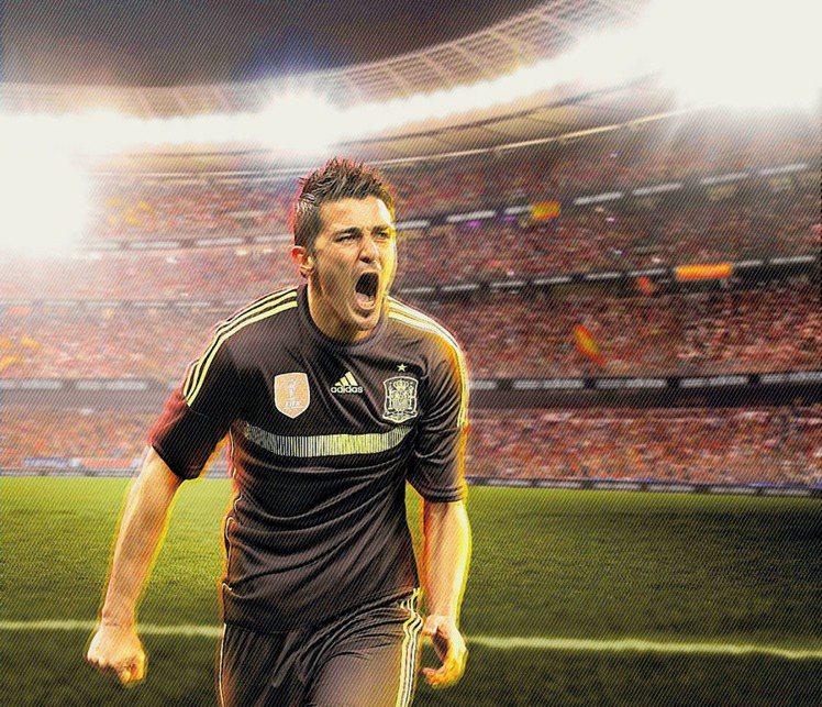 adidas西班牙國家隊客場球衣,首次採用黑及螢光色作配搭。圖/adidas提供