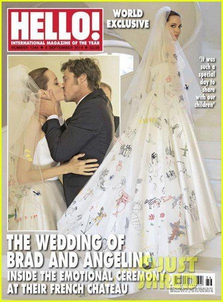 裘莉的Versace婚紗上,有六個孩子的塗鴉,十分溫馨。圖/擷自people.c...
