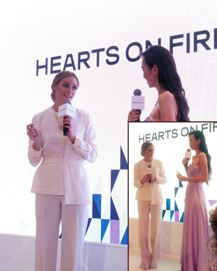 奧莉薇亞巴勒莫前陣子於上海參加活動時也以一身白色寬管褲套裝現身,同樣在褲管裡藏了...