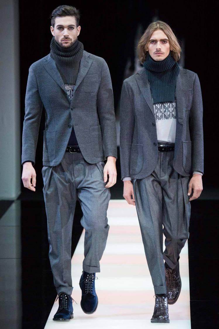 Giorgio Armani服裝線條主打高領,針織毛衣、裝飾圍巾等,都散發著復古...