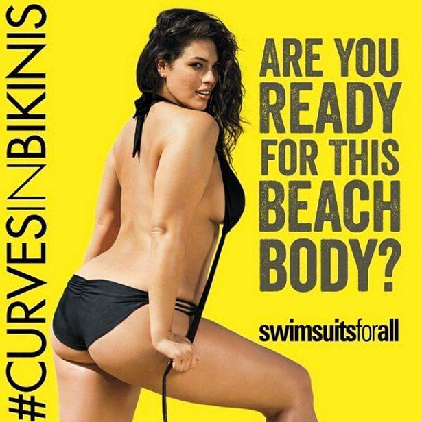 大尺碼模特兒 Ashley Graham 出馬模仿該廣告,示威意味非常明顯。圖/...
