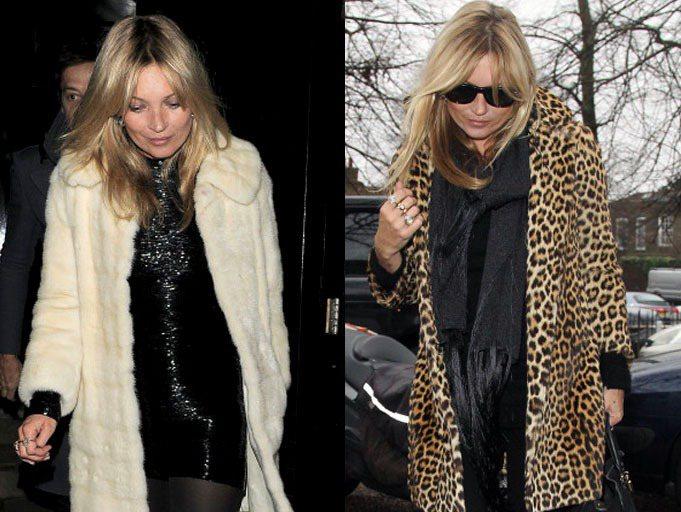 愛穿皮草的超模凱特摩絲三天兩頭就換不同的皮草外套。圖/達志影像