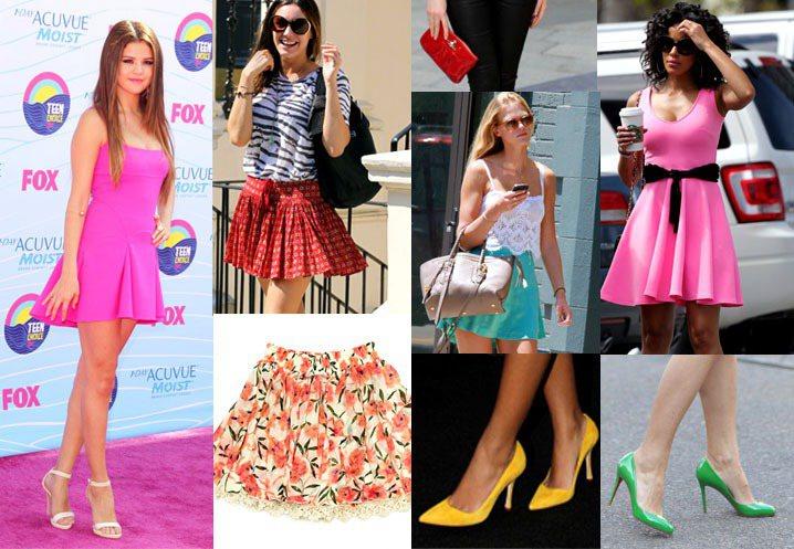 《辣妹過招》「Barbie Girl」風格短裙、粉紅系單品、細跟尖頭鞋、手拿包。...