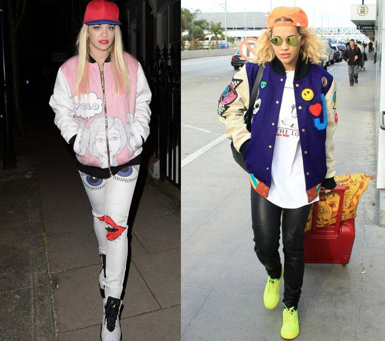 Rita Ora不只愛穿戴棒球外套、棒球帽,也是螢光、飽合色系單品愛用者。圖/達...