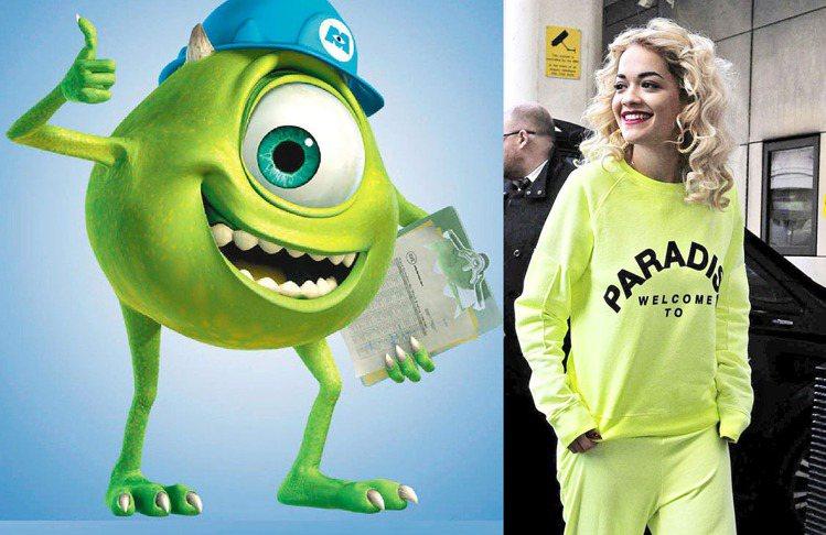 Rita Ora的螢光套裝很有大眼仔的感覺吧!圖/達志影像、聯合報資料照