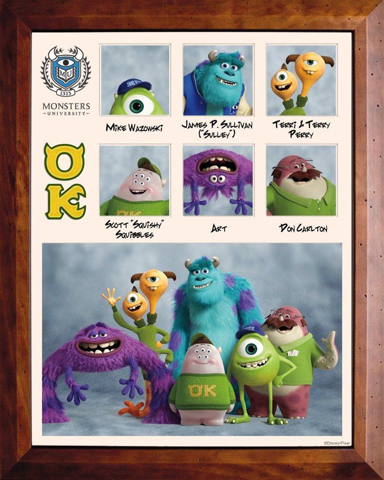 《怪獸大學》中嚇人大賽隊伍海報,多款怪獸悉數亮相。圖/迪士尼提供