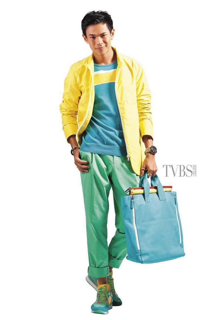 高彩度休閒外套,內搭具繪畫效果的針織衫,並以鞋履呼應幻影的綿延。圖/TVBS周刊