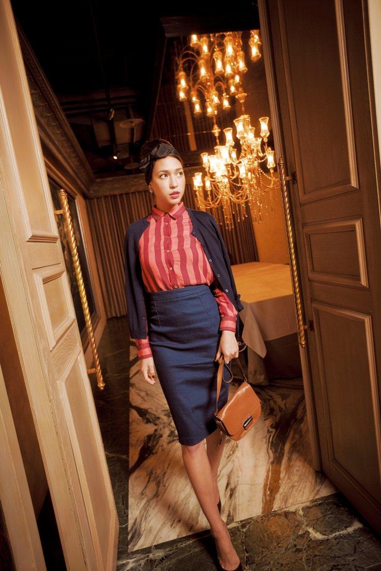 名模Liv友情示範優雅迷人的「過膝時尚」。圖/大美人提供