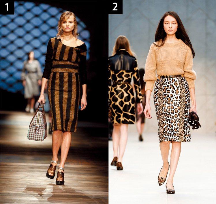 今年秋天必敗款:過膝窄管裙,(1)圖/PRADA(2)圖/BURBERRY。圖/...