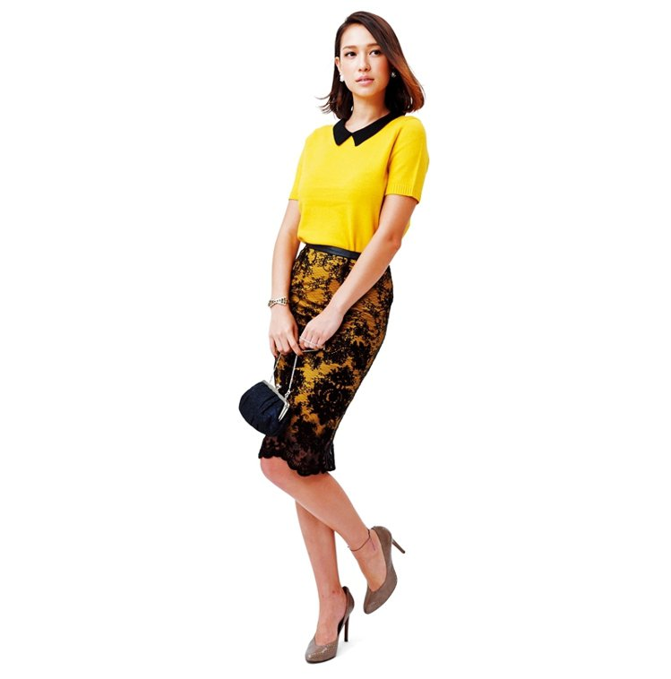 內裡黃色襯裙比蕾絲短一截,透視有拉長腿效果。上衣NT4980/STEPHANED...