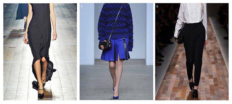 (左至右)LANVIN:斜線裙擺運用誇張剪裁,拉長外露腿部範圍,在視覺上蘿蔔腿顯...