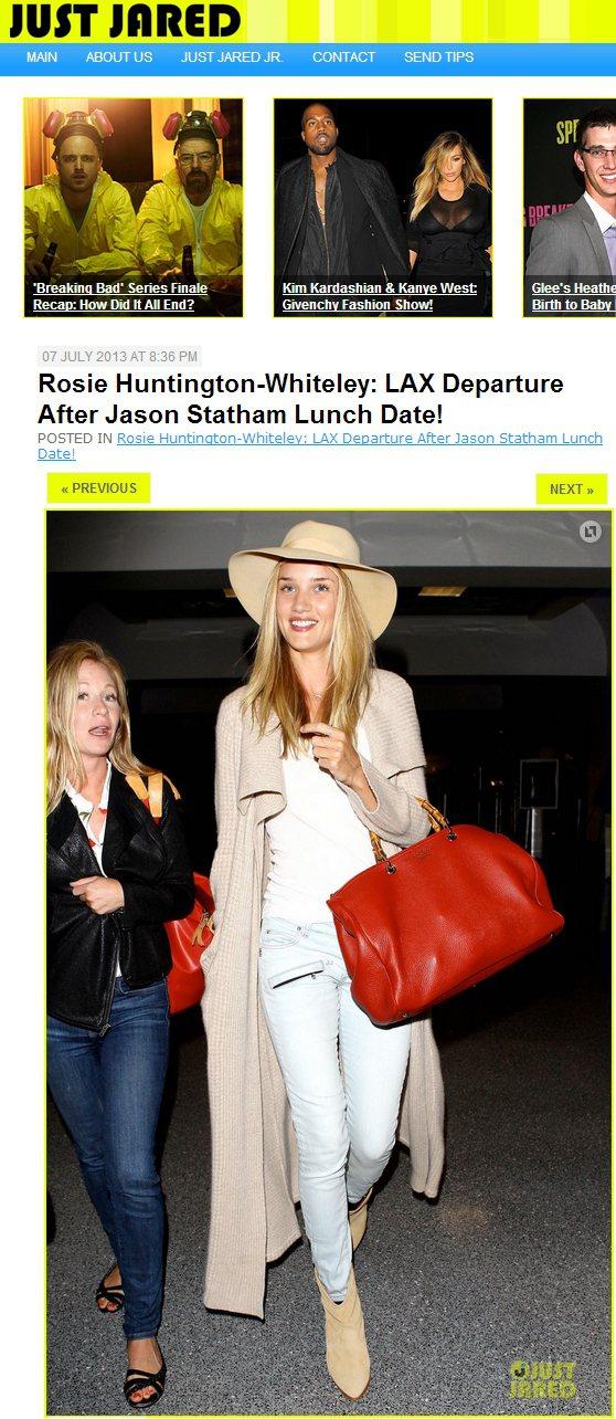 蘿西杭亭頓以淺色寬邊帽搭配針織外套,展現隨性率性的一面。圖/擷取自justjar...