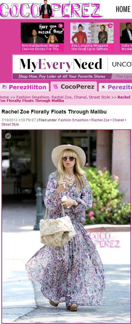 知名造型師Rachel Zoe利用白色寬邊帽變換風格。圖/擷取自perezhil...