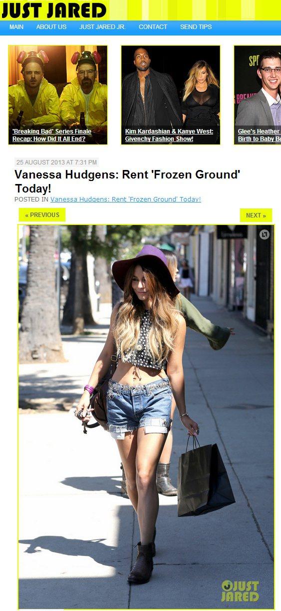 凡妮莎哈金斯的紫色寬邊帽,造型感份量十足。圖/擷取自justjared.com