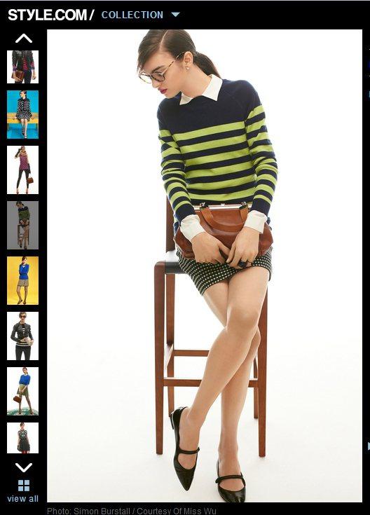 比起黑白條紋,亮色系條紋毛衣更能增添俏皮感!圖/擷取自style.com
