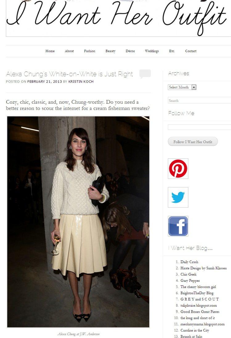 Alexa Chung以棉花糖般的白毛衣,搭配奶油色皮裙,毛衣的「柔綿感」與漆皮...