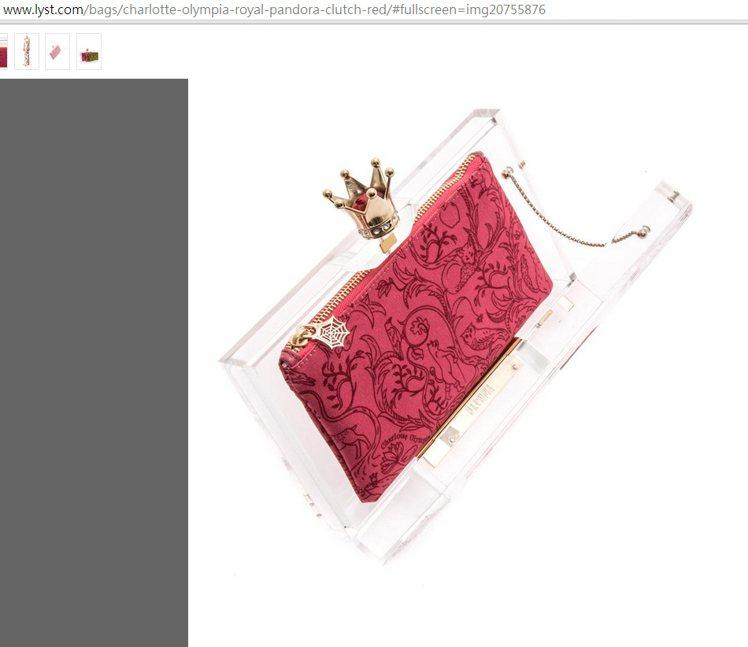 Charlotte Olympia的皇冠手拿包,玫瑰紅布料上的刺繡相當精緻,而蜘...