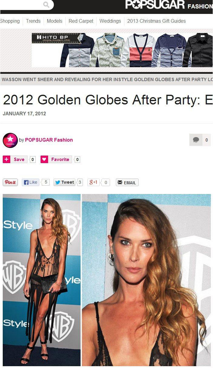 美國女演員 Erin Wasson一直都很大方地展露好身材,出席2012年金球獎...