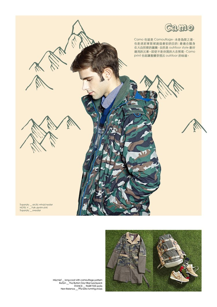 Camo也就是Camouflage,本是偽裝之意,也是迷彩軍裝被創造最初的目的:...