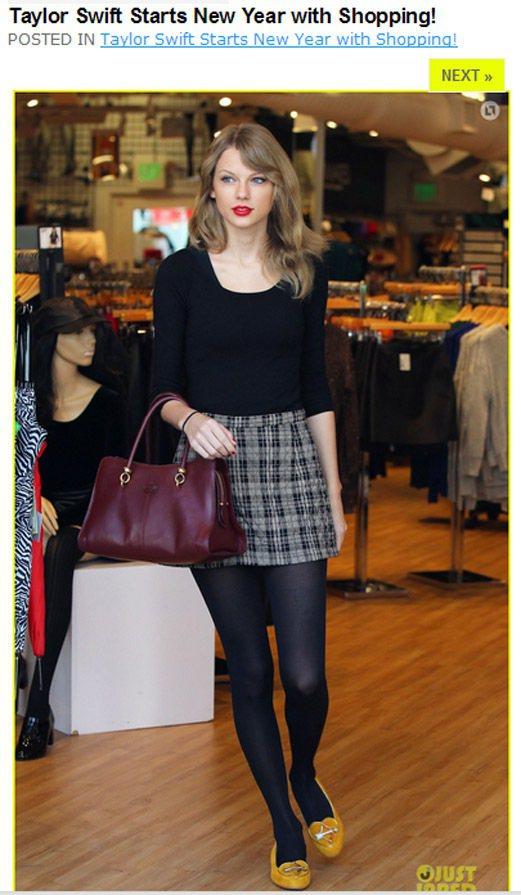 泰勒絲挑了件很有九○年代校園風格的格紋短裙,搭配基本款圓領黑色五分袖上衣,呈現她...