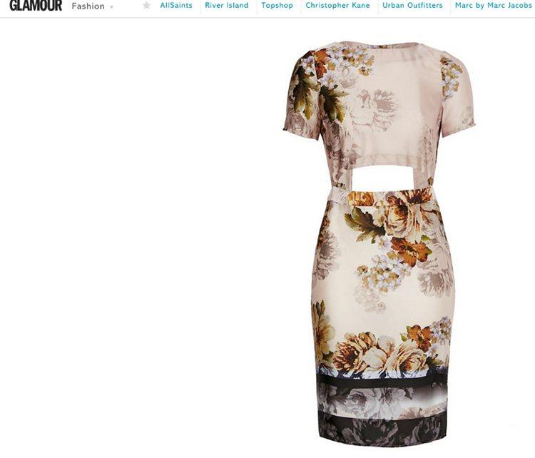 鏤空設計讓充滿端莊氛圍的印花洋裝多了股摩登感。圖/擷取自glamourmagaz...