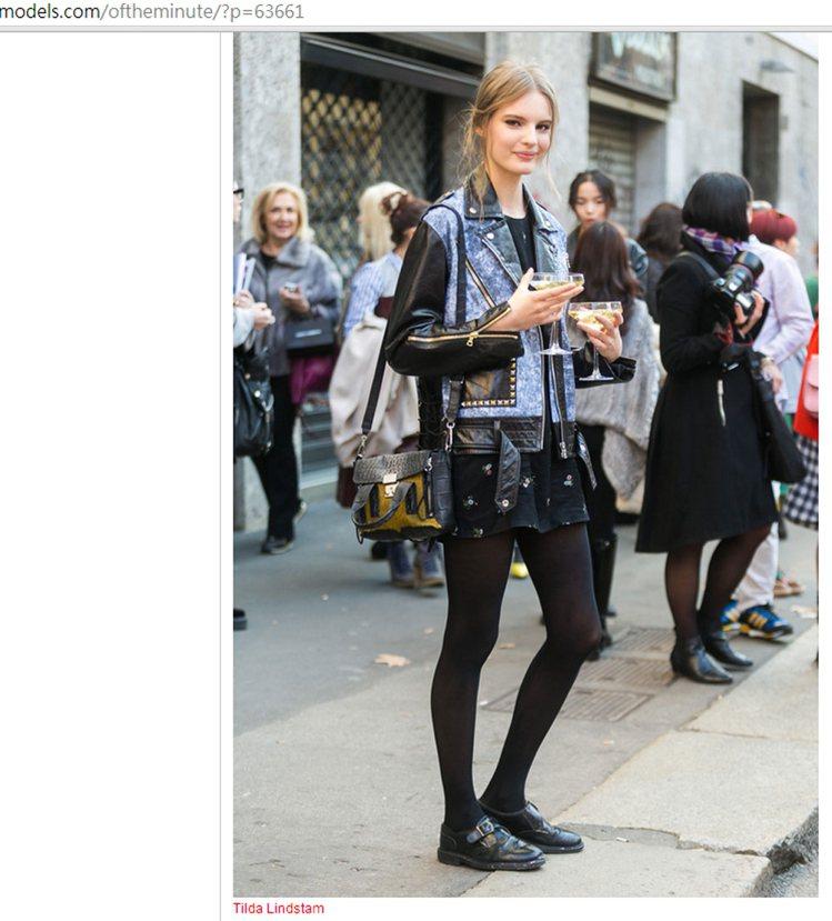 模特兒 Tilda Lindstam 的牛仔拼接皮衣充滿率性風範,即使有鉚釘和拉...