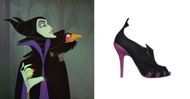 Dior 2010年推出的紫黒配色踝靴,蝙蝠式的鞋型設計搭上配色,簡直可以請 M...