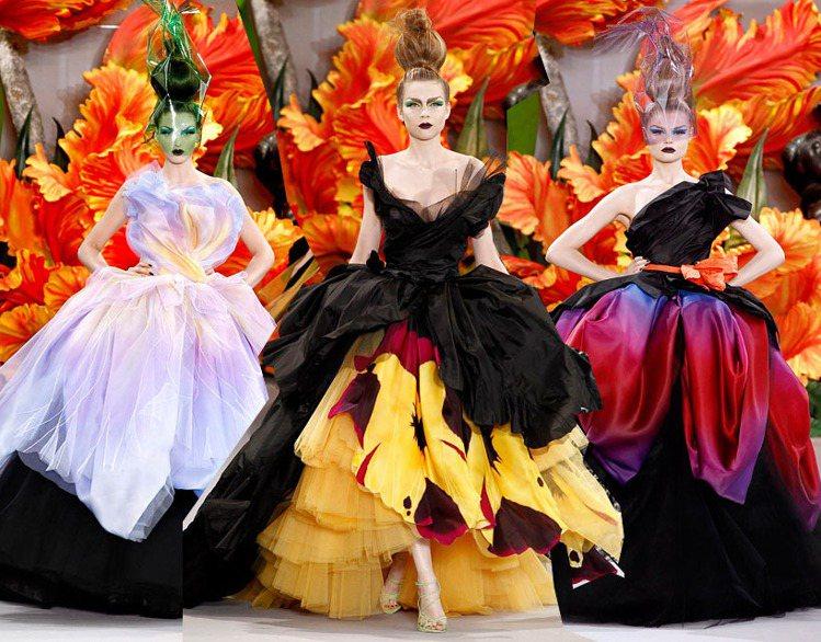 Dior 2010 秋冬高級訂製服以品牌經典的「鬱金香系列」為靈感,用帶有女巫風...
