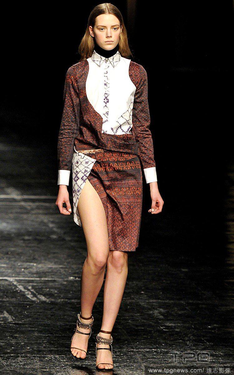 Prabal Gurung 的膝上短窄裙更是大膽,搭配民族風的圖騰更有特色。圖/...