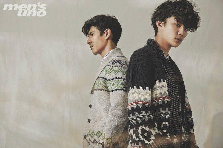 (左)格紋襯衫、灰色幾何圖案開襟針織衫 by Brooks Brothers;(...