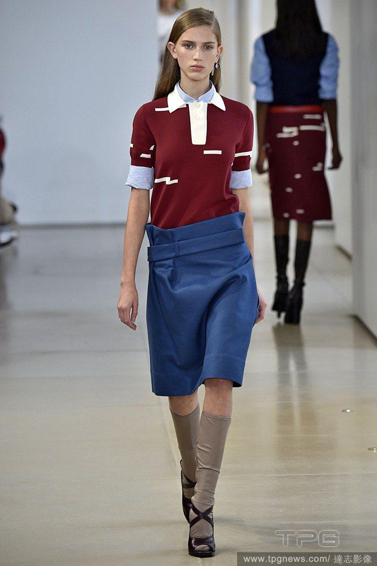 帶有幾何色塊的 POLO 衫充滿濃濃的復古味,Jil Sander 2015 春...