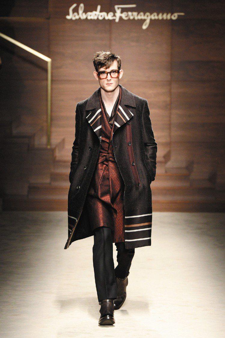 Ferragamo秋冬男裝以條紋營造出斯文氣質。圖/Ferragamo提供