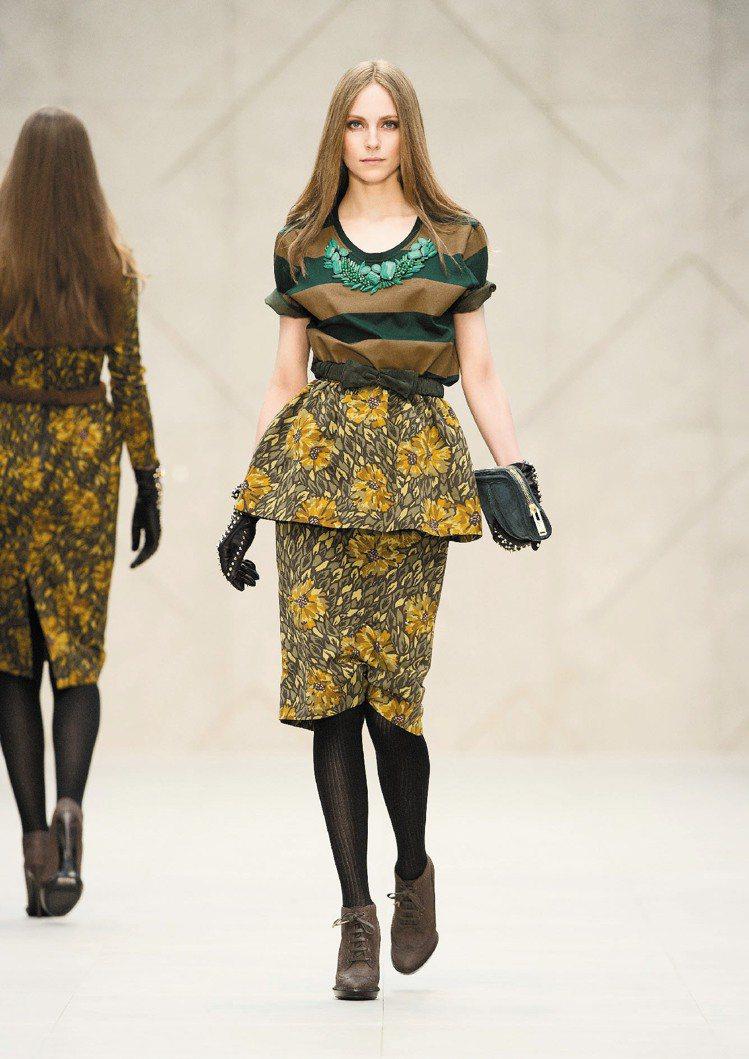 BURBERRY大量採用鄉村風格的印花布,讓女人更添嫵媚。圖/BURBERRY提...