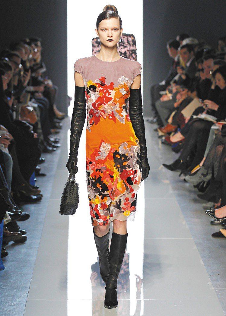 Bottega Veneta秋冬女裝充滿拼接的華麗感。圖/BV提供