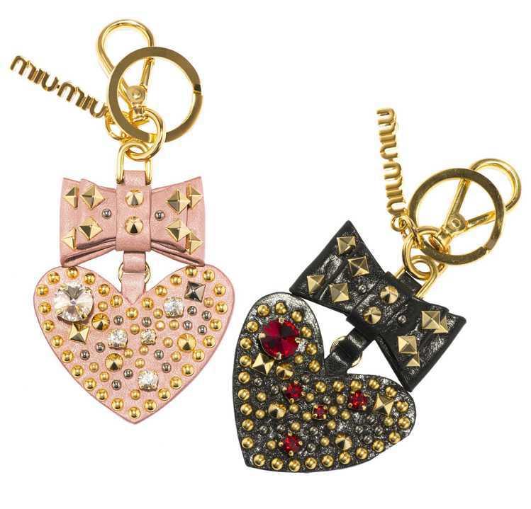 MIU MIU鑲寶石愛心鑰匙圈、7,000元。圖/MIU MIU提供