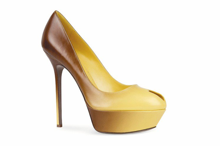 sergio rossi萊姆色漸層露趾厚底高跟鞋 ,31,000元。圖/serg...
