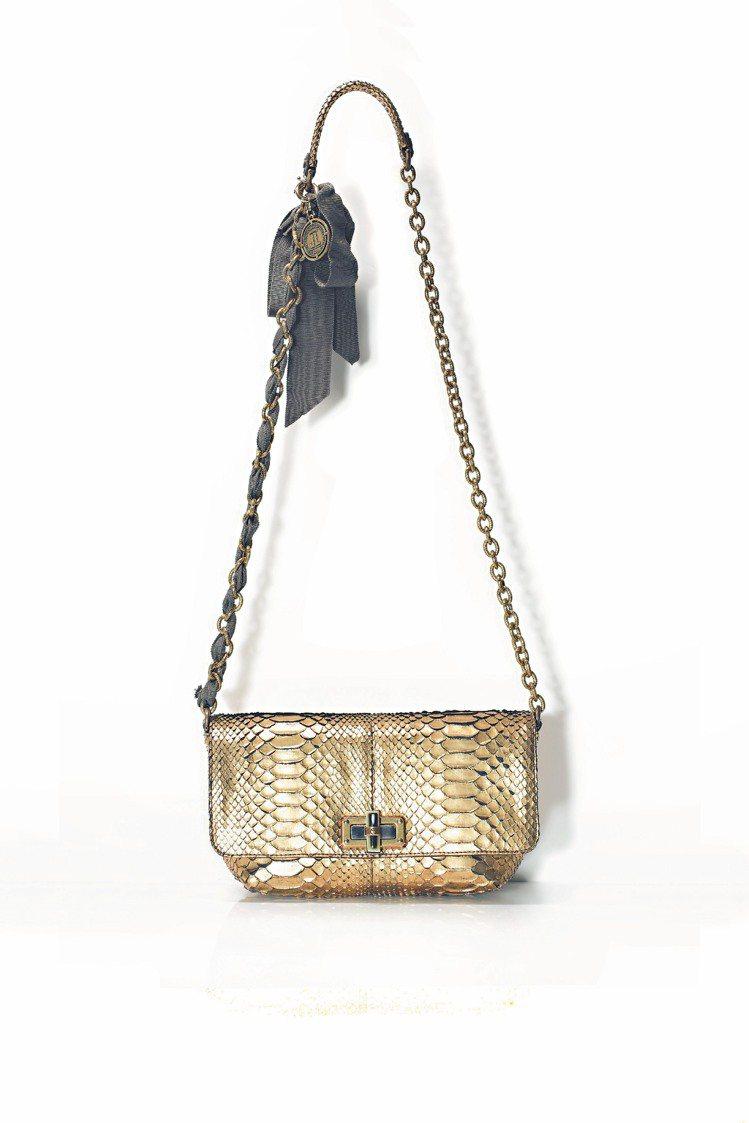 金色蟒蛇皮包,10萬1,500元。圖/LANVIN提供