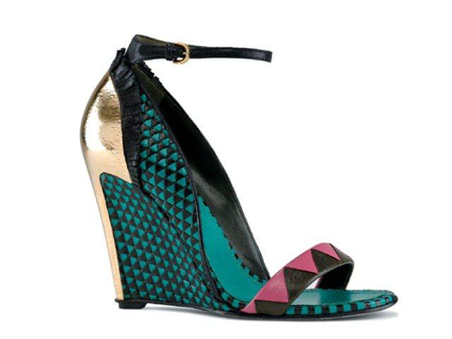 黑綠幾何編織鞋,57,000元。圖/Sergio Rossi提供
