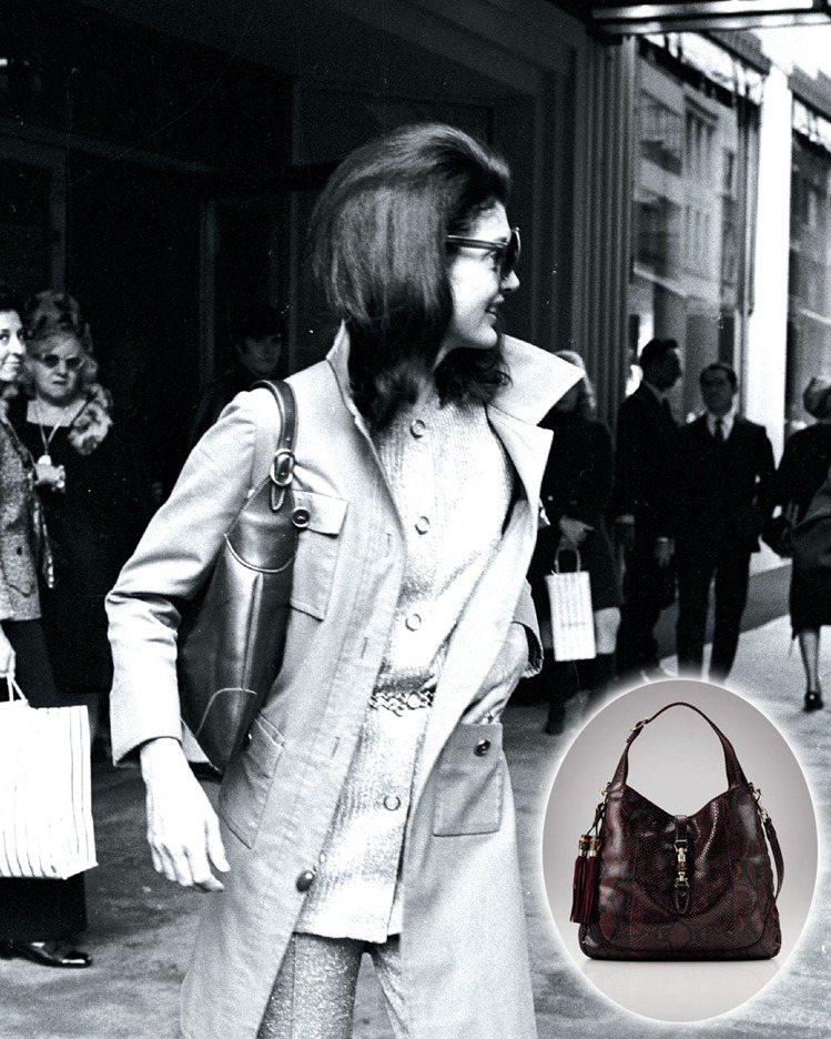 賈桂琳甘迺迪帶動貝殼形狀的「賈姬包」流行。「賈姬包」的暱稱,就是從這幀賈姬拎著古...