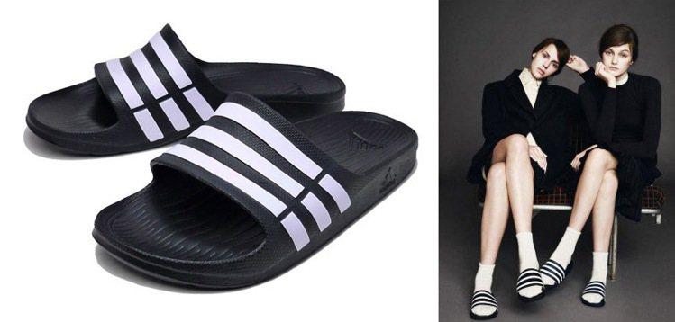 愛迪達Adidas Shower Slide儼然成為一股時尚潮流。圖;文/美麗佳...