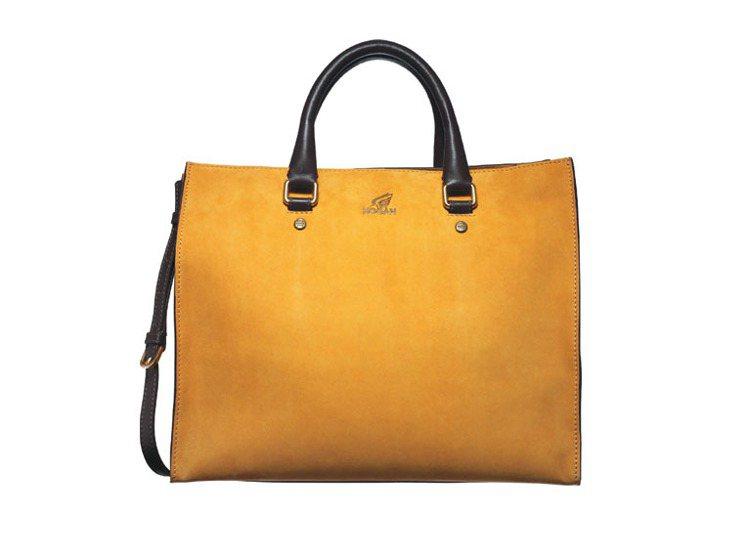 HOGAN PRINT雙色拼接麂皮手提肩揹兩用包,32,200元。圖/HOGAN...