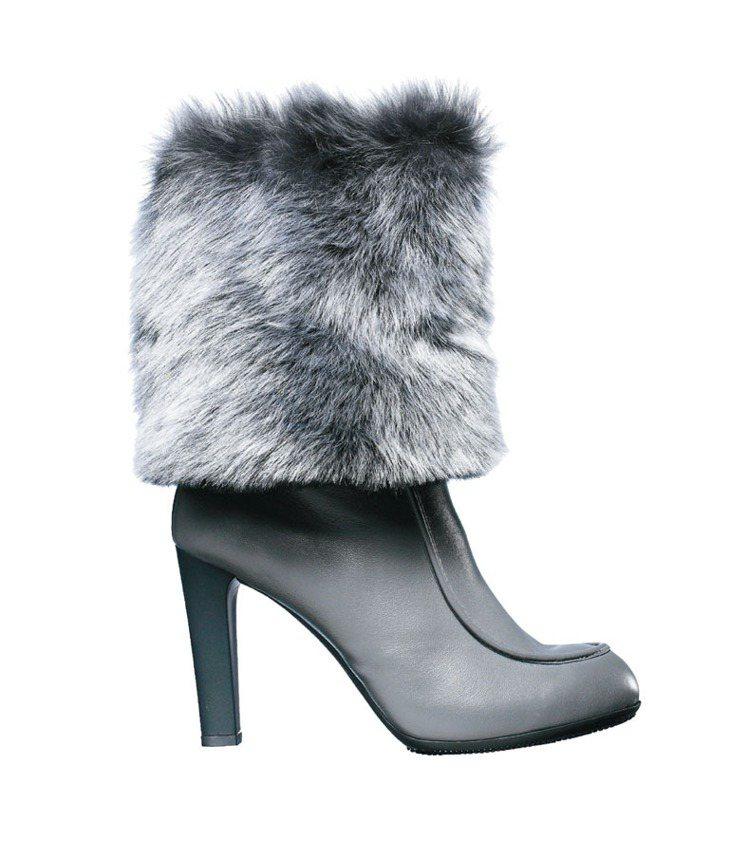 HOGAN OPTY 220灰色牛皮拼接羊毛材質高跟中筒靴,41,200元。圖/...