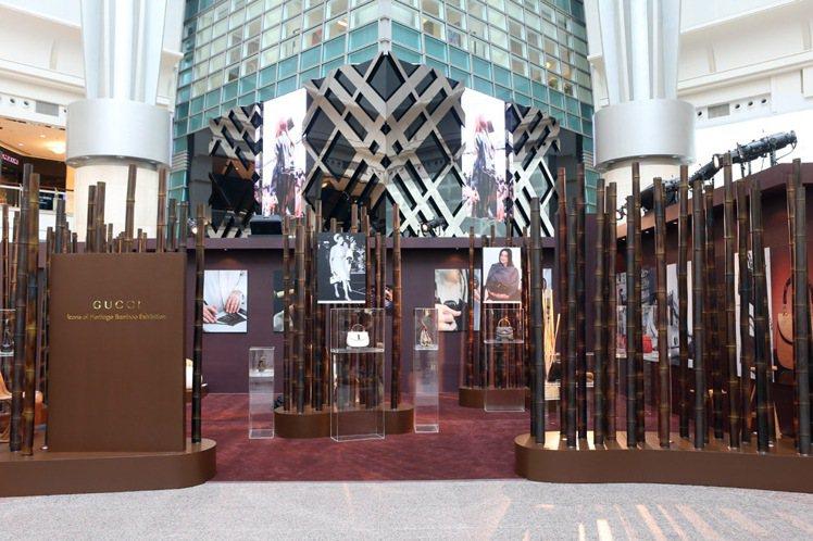 GUCCI昨天開始於台北101舉辦竹節包展,展出十餘款骨董級竹節包。記者陳立凱/...