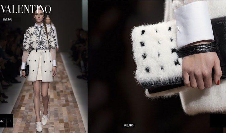 VALENTINO在秋冬推出毛茸茸手拿包,和服裝相呼應,用一樣的布料、配色,打造...