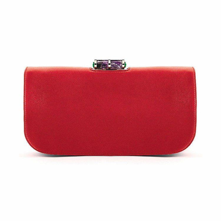 BVLGARI Lipstick紅色羔羊皮手拿包,9萬1,000元。圖/BVLG...