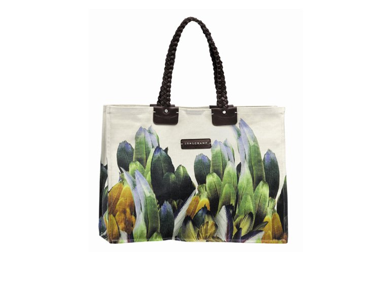 Tribu Longchamp Canvas手袋以澳洲特有小型吸蜜鸚鵡的彩色羽毛...