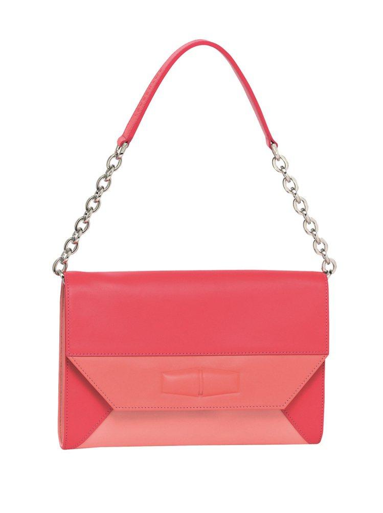 Dolce Night 系列短鍊帶手提肩背包(珊瑚紅)。圖/Longchamp提...